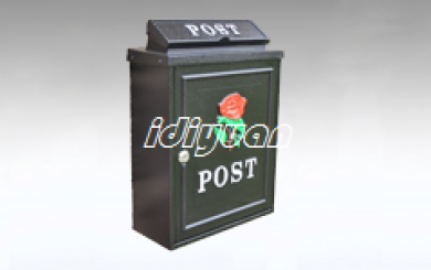 DNB009-Red Rose Wall Mounted Post Box