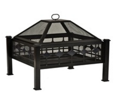 Square Sturdy Steel Fire Pit